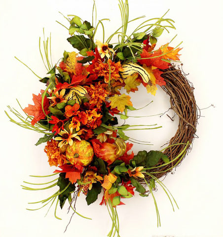 Our Autumn Gourds Grapevine Fall Front Door Wreath is 23