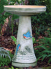 Our Bluebirds Handcrafted Clay Birdbath Set is beautifully handcrafted and painted in the USA