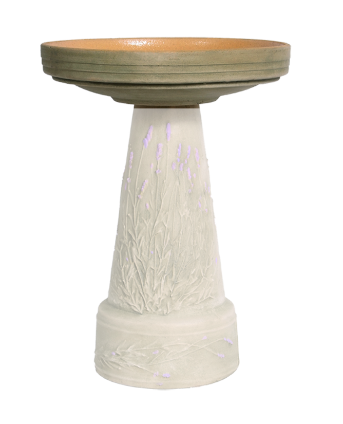 Replacement Birdbath Bowl Top for Purple Lavender Handcrafted Clay Birdbath