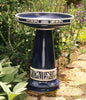 Cobalt Blue Gloss Glazed Ceramic Birdbath Set | Handcrafted beauty for your garden