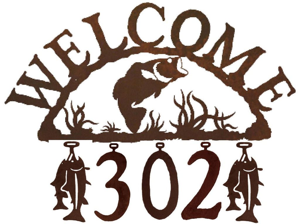 Our Bass Fish Handcrafted Metal Welcome Address Sign will be custom made for you and features 5 personalized numbers and or figures to create a sign that is especially for you