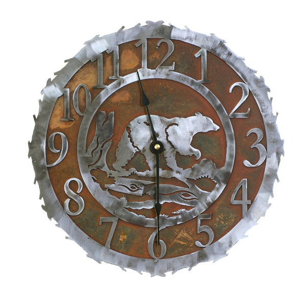 Bear Handcrafted Metal Wall Clock - 12 inch - inthegardenandmore.com