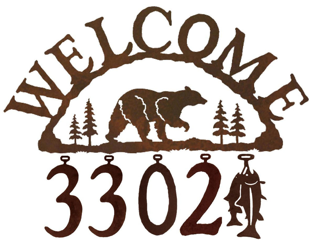 Our Bear Handcrafted Metal Welcome Address Sign is great for your cabin or home and you can customize it with hanging numbers and symbols of your choice