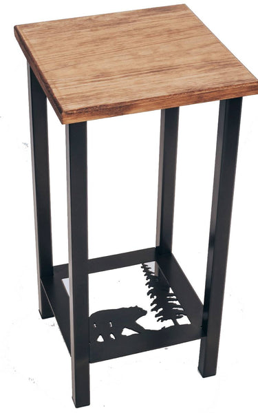 "Our Bear and Feather Pine Tree Metal and Wood Side Table is custom made and is 11"" square x 23"" tall and great for any room in your rustic décor style home."