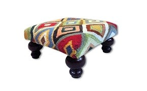 Bedazzled Diamonds Handcrafted Hooked Wool Footstool