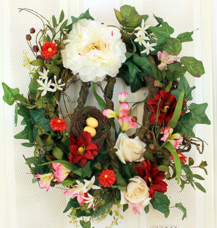 Bird's Nest With Florals Decorative Front Door Wreath (23 inch)