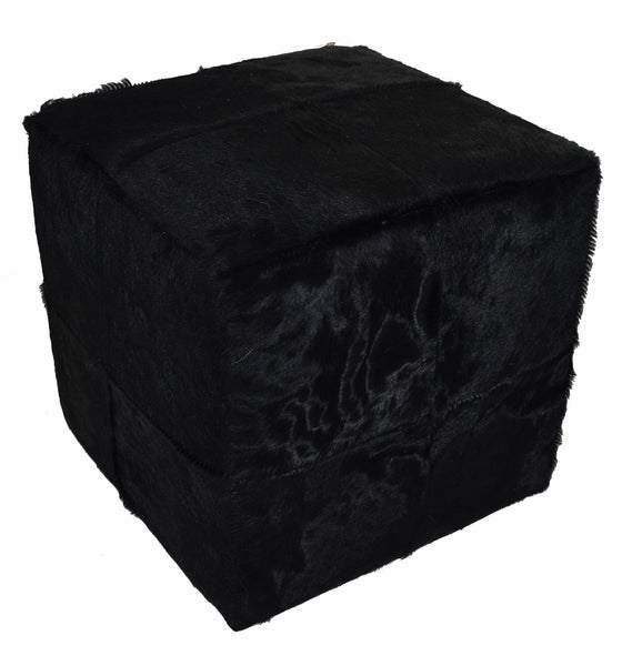 Our Black Dyed Cowhide Cube Pouf Stool Ottoman  will afford you with durable design as well as handcrafted artistry.