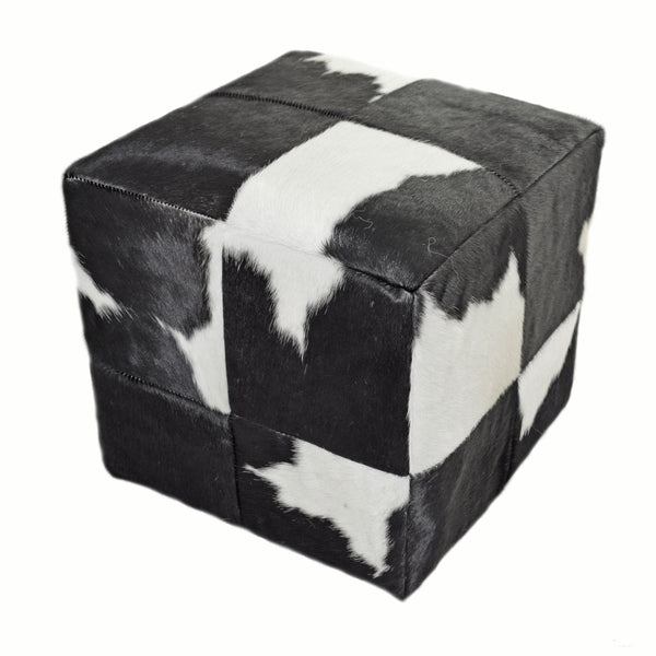 Black and White Leather Cube Pouf Stool Ottoman