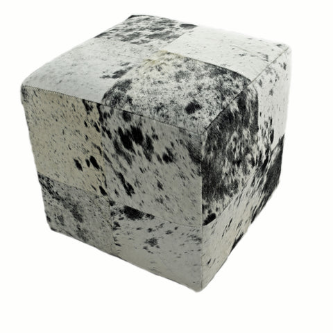 Black and White, Salt and Pepper, Leather Cube Pouf Stool Ottoman