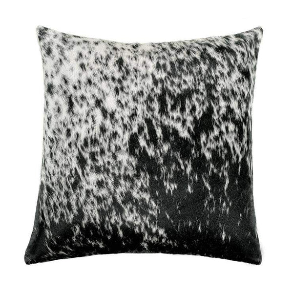 "ALT TEXT: Our 18"" square Black and White Salt and Pepper Cowhide Reversible Throw Pillows With Down Filled Insert are beautiful accent pillows for any room in your home"