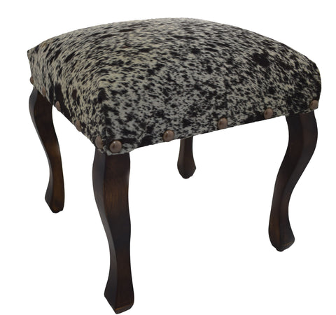 Black and White Salt and Pepper Cowhide Upholstered Stool