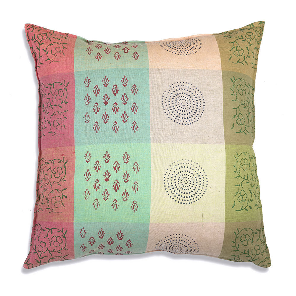 Add beauty and function to your home with our Blending Striped Cubes Cotton Throw Pillow