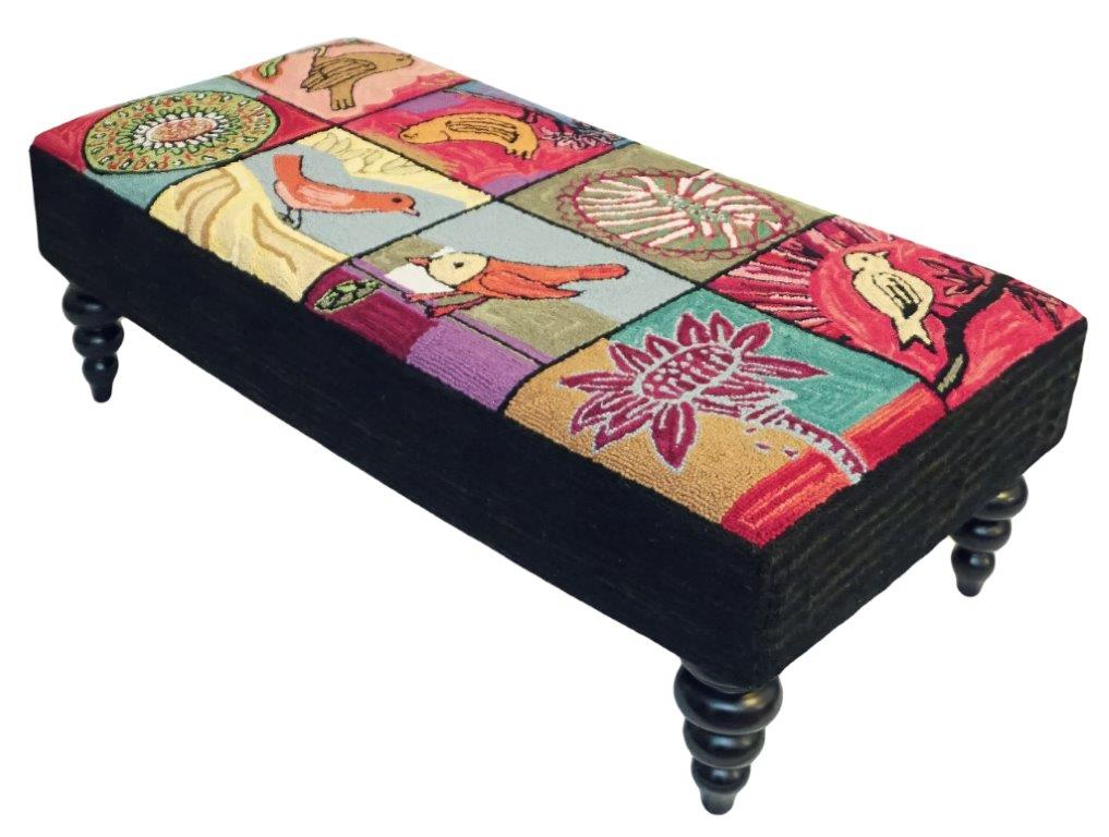 Colorful and beautiful is this Blooming Birds Handcrafted Hooked Wool Bench