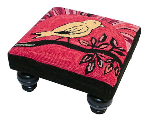 Blooming Birds Handcrafted Hooked Wool Footstool