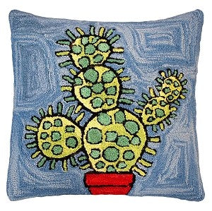 "Blooming Cactus 20"" Hand Hooked Wool Pillow (Blue)"