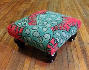 Blooming Cactus Handcrafted Hooked Wool Footstool