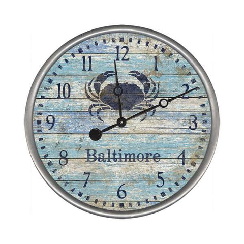 Blue Crab Distressed Wall Clock (customizable)