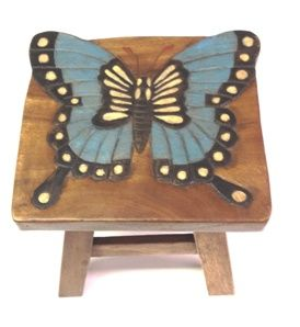 Blue Butterfly Hand Carved and Hand Painted Wooden Footstool