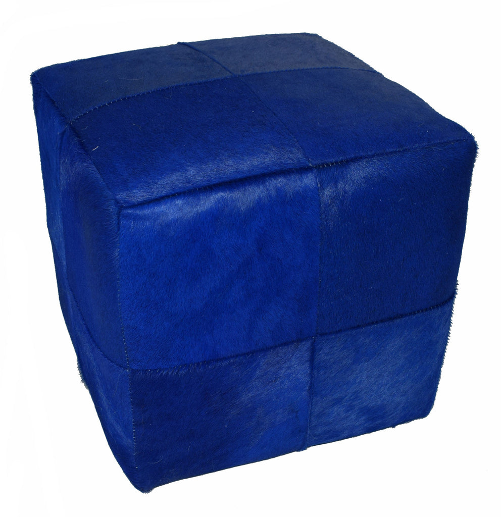 Our Blue Dyed Cowhide Cube Pouf Stool Ottoman will afford you with durable design as well as handcrafted artistry