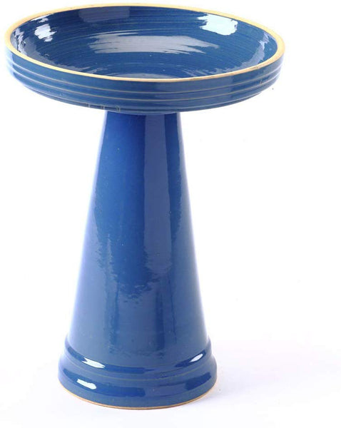 Our Blue Simply Elegant Clay Bird Bath Set features on lock on top and finished in a beautiful blue color