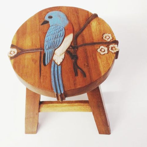 Our Bluebird Wood Footstool has been beautifully hand carved, painted and stained with amazing detail