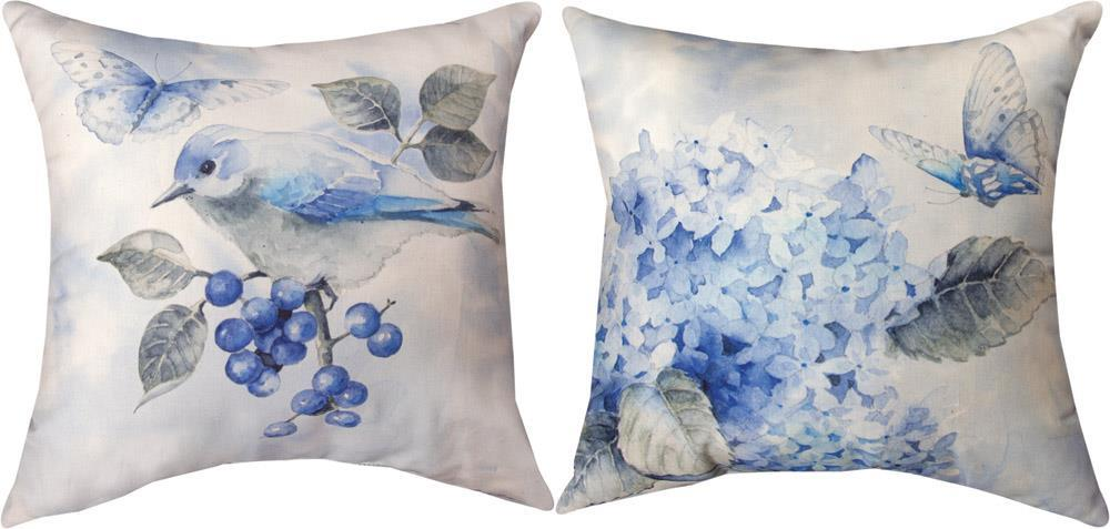 Decorate your patio or home with these beautiful Bluebirds and Butterflies Indoor Outdoor Reversible Throw Pillows