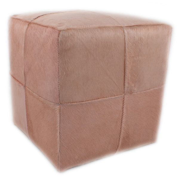 Blushed Rose Dyed Cowhide Cube Pouf Stool Ottoman