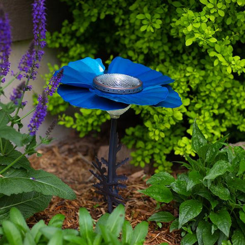 Our Bright Blue Poppy Solar Light Garden Stake Statuary comes as a set of two and great for walkways, in between flowers and great with our cactus décor as well.