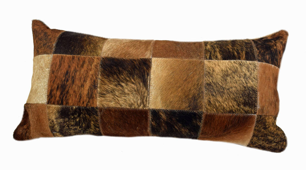 "rindle Cowhide Patchwork Lumbar Pillow is 20"" long x 12"" tall and features an assortment of brindle cowhide colors … all patchworked together to make a decorative pillow."