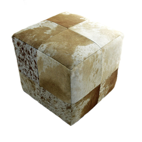Brown and White, Salt and Pepper, Leather Cube Pouf Stool Ottoman