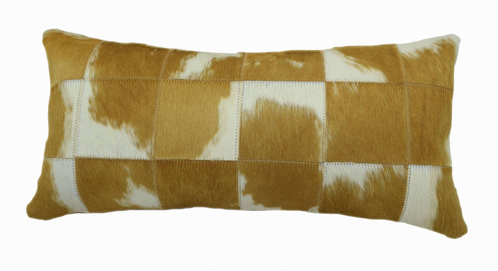 "Our Brown and White Cloudy Patchwork Lumbar Pillow is 20"" long x 12"" tall and features an assortment of brown and white cloudy cowhide colors … all patchworked together to make a decorative pillow."