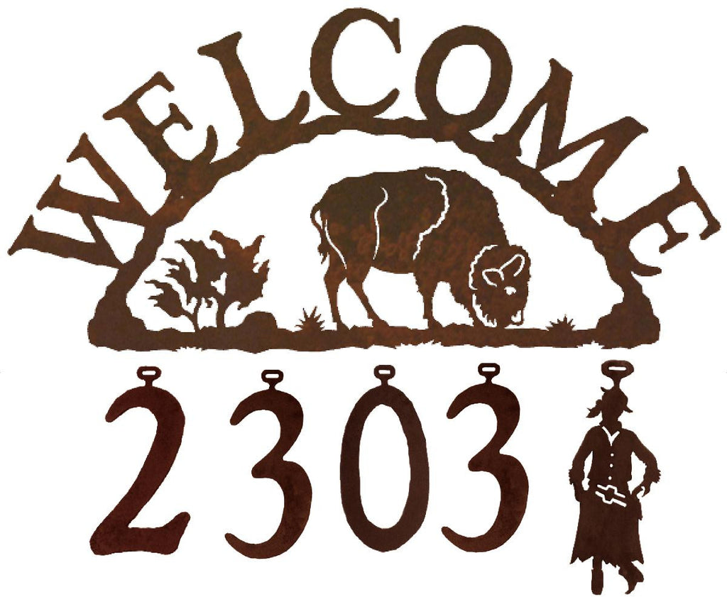 Our Buffalo Handcrafted Metal Welcome Address Sign is great for your cabin or home and you can customize it with hanging numbers and symbols of your choice