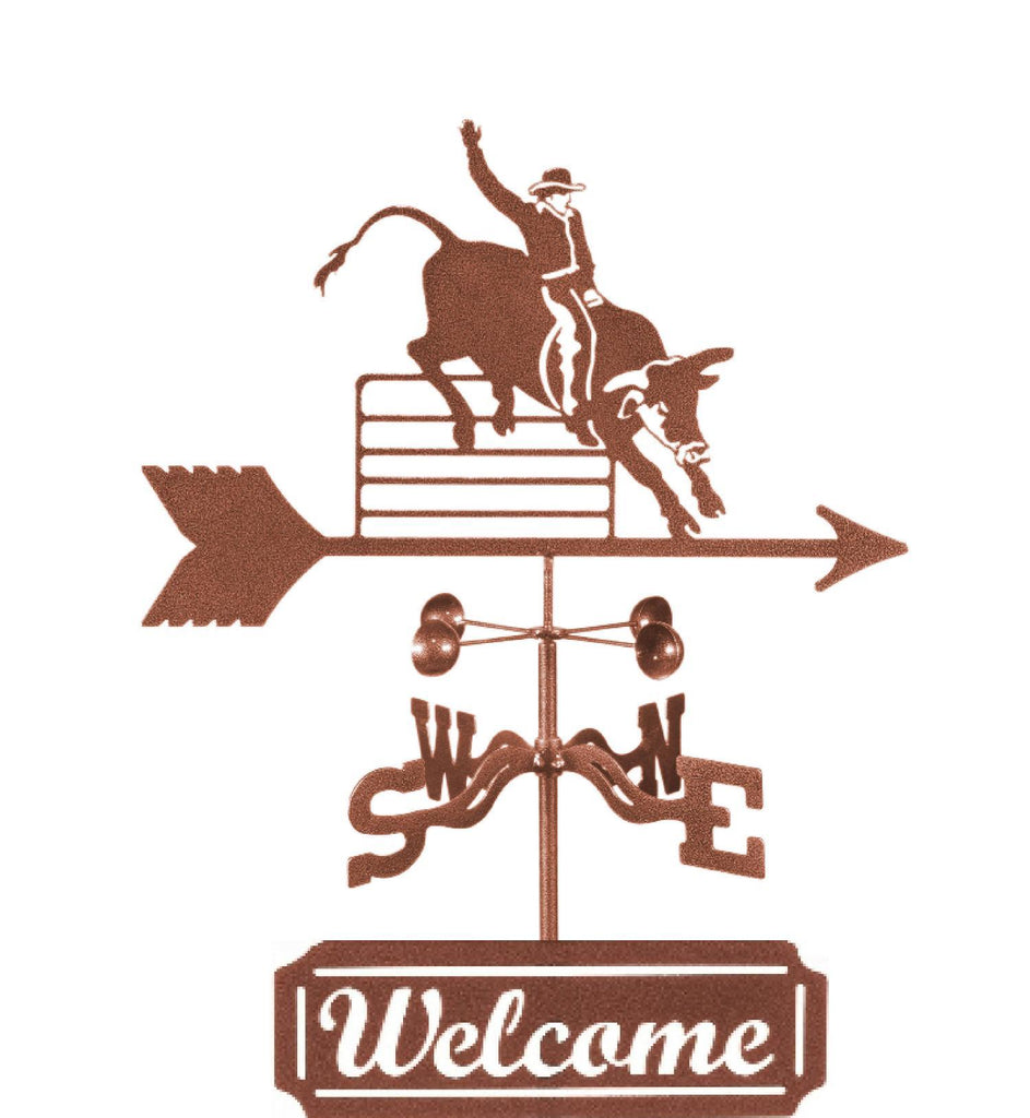 Add fun and function to your garden with out Western Bull Rider Rain Gauge Weathervane and Welcome Sign