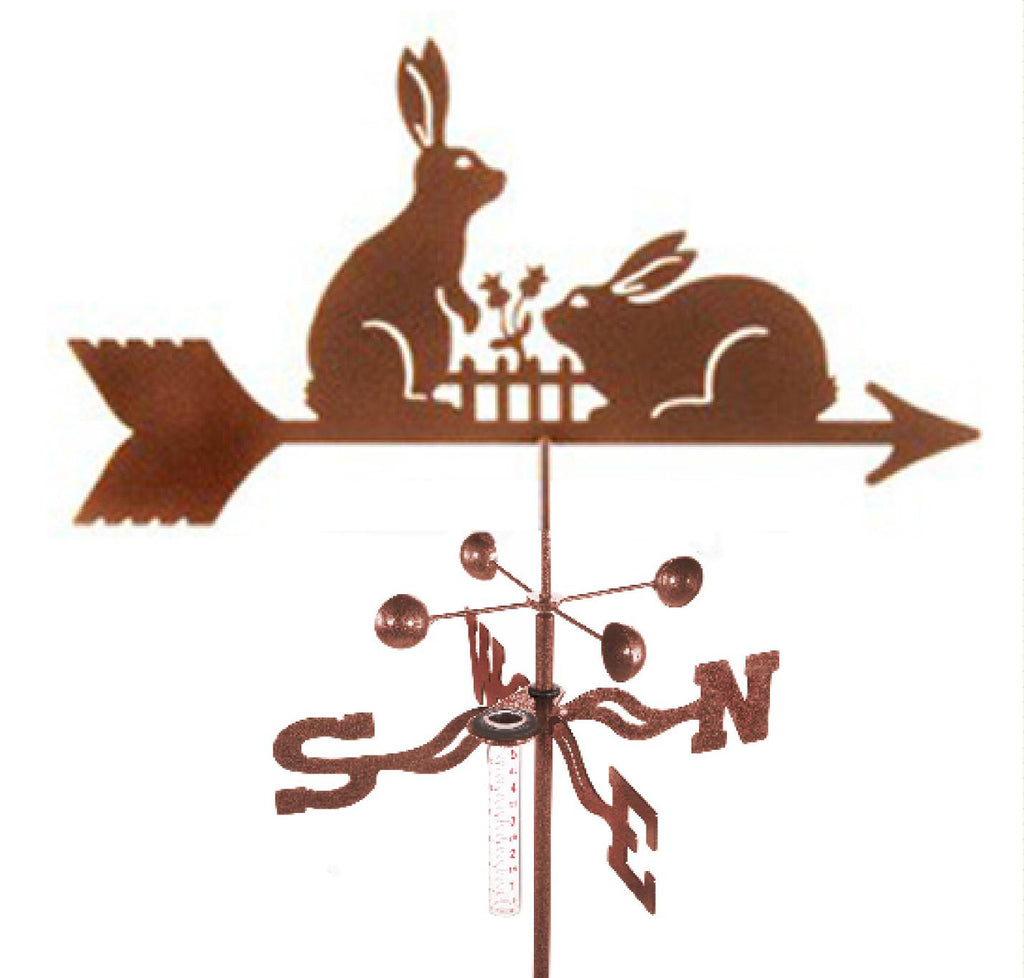 Combine function and yard art with our Bunny Rabbits Rain Gauge Garden Stake Weathervane