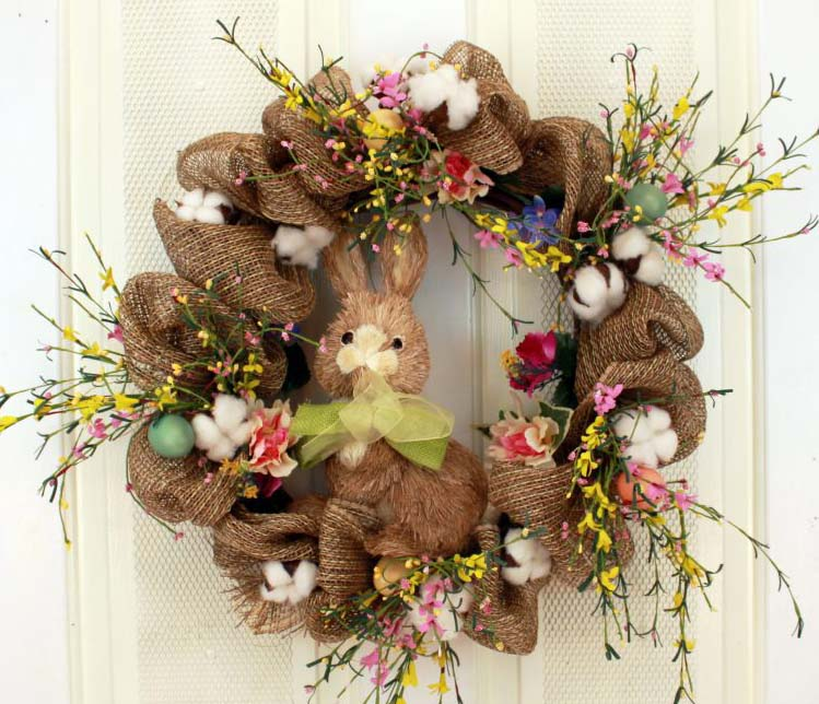 Great for indoor and outdoors, our Burlap, Bunny and Florals Decorative Door Wreath (23 inch) looks amazing.