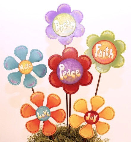 Praise Petal Daisies Metal Garden Stake Statuary/Wall Decor (set of 6)