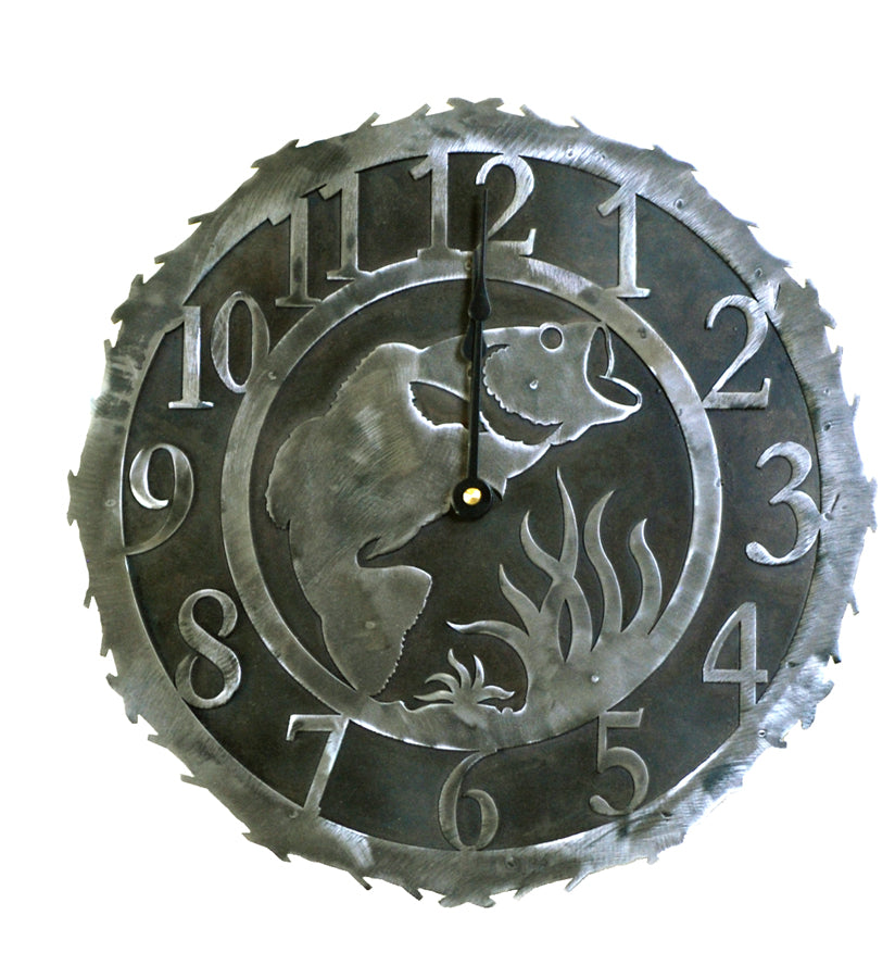 Our Bass Handcrafted Rustic Metal Wall Clock - 12