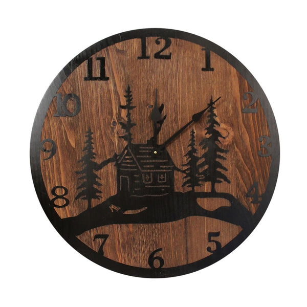 "Transform any wall with our Cabin Etched Wood Round Wall Clock - 24"" ... handcrafted here in the USA"