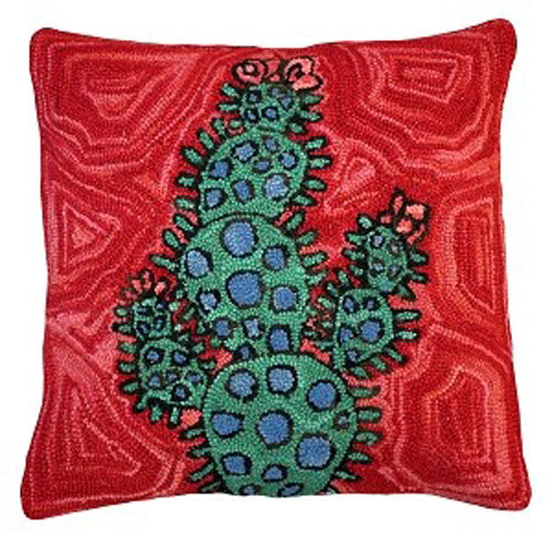 "Blooming Cactus 20"" Hand Hooked Wool Pillow (Red)"