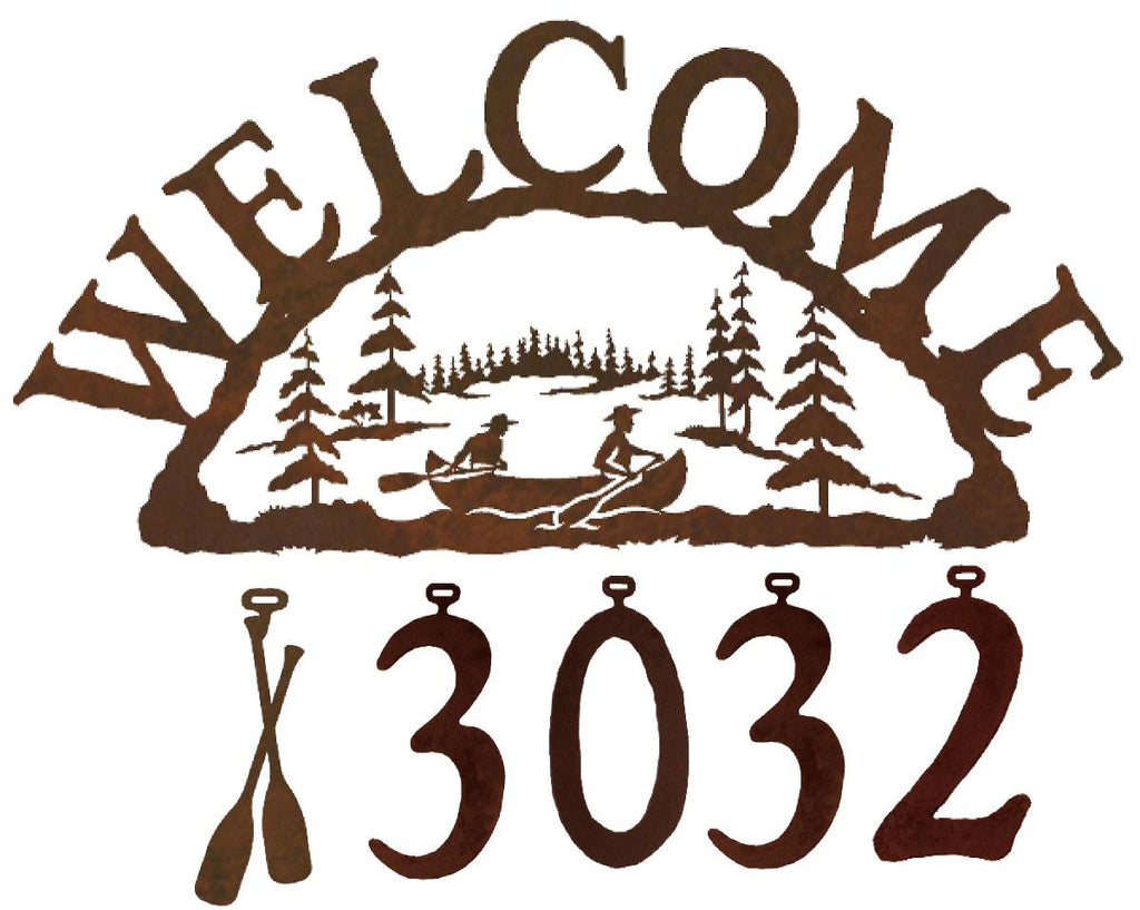 Our Canoe Handcrafted Metal Welcome Address Sign will be custom made for you and features 5 personalized numbers and or figures to create a sign that is especially for you