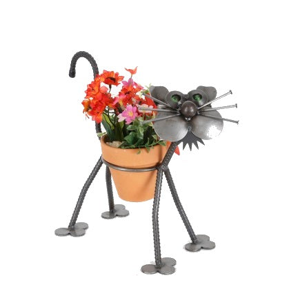 Cat Recycled Scrap Metal Statuary and Potted Plant Holder