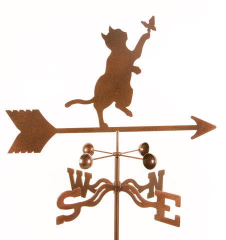 Butterfly Cat Rain Gauge Garden Stake Weathervane