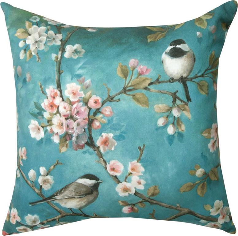 Chickadee on Dogwood Branches Indoor/Outdoor Pillows (Set of 2)