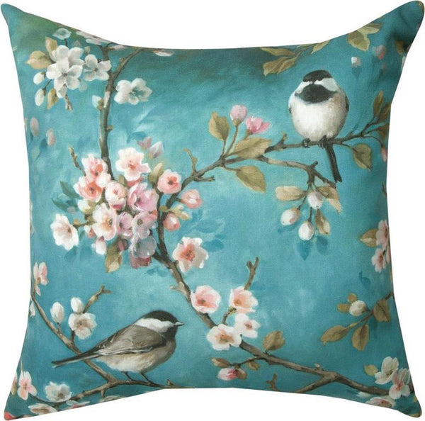 These beautiful Chickadee on Dogwood Branches Indoor/Outdoor Pillows (Set of 2) are great accents for your indoor and outdoor entertaining