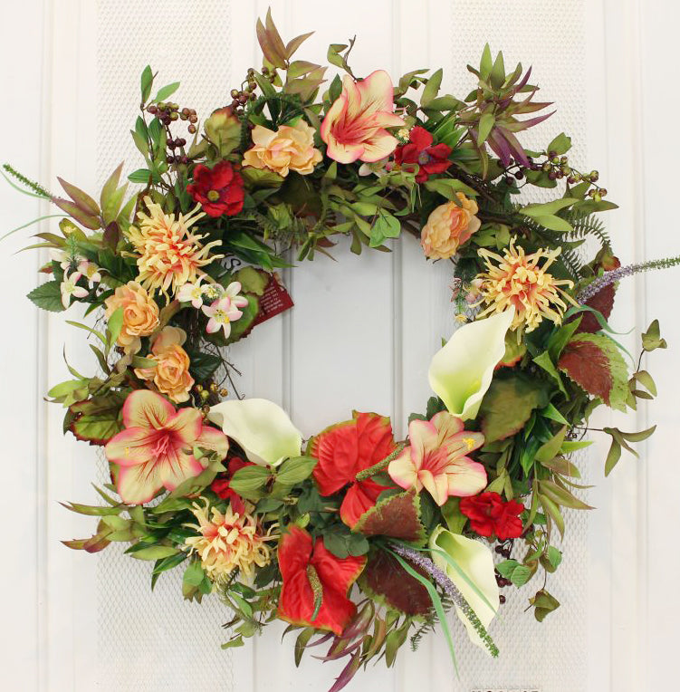 "Handcrafted, our Chrysanthemum and Lily Splendor Front Door Wreath – 22"" looks beautiful indoors and outdoors."