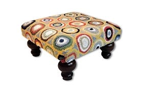 Symmetrical Circles Handcrafted Hooked Wool Footstool