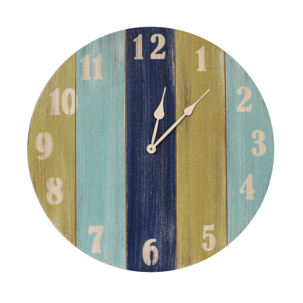 "Coastal Living Slatted Wood Stripe Wall Clock (24"") - custom made in the USA"