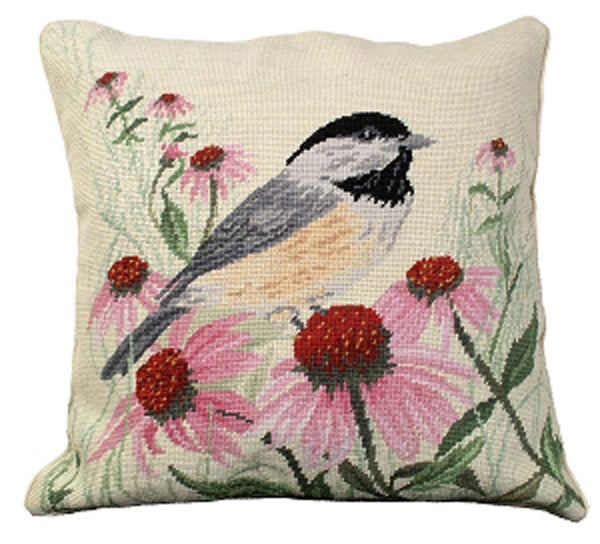 Add creativity and color to your home with our Cone Flower Chickadee Needlepoint Pillow (18