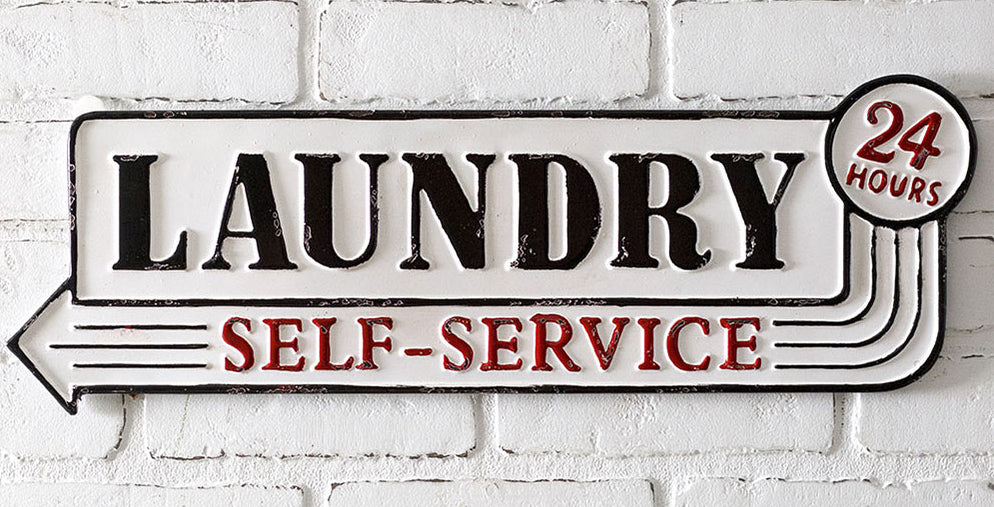 Add fun and color to your laundry room wall with our Country Farmhouse Metal Laundry Sign