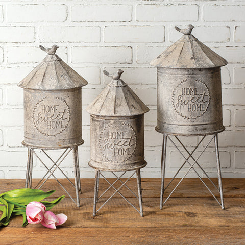 Our Country Farmhouse Silo Metal Containers (Set of 3) features three large silos that will enable you to store items you may not need or want out and decorate with your farmhouse style at the same time